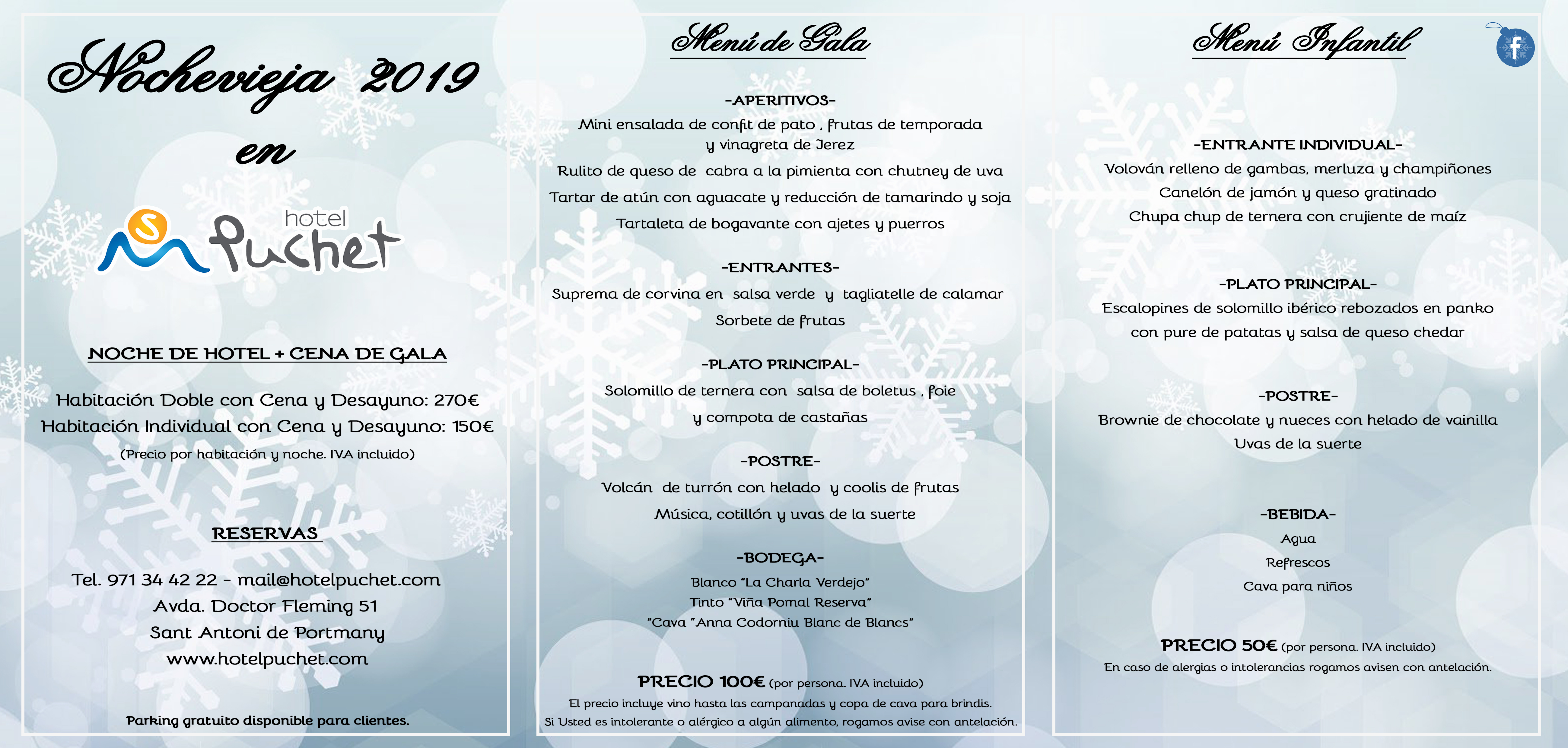 New Year's Eve Menu 2019 Hotel Puchet